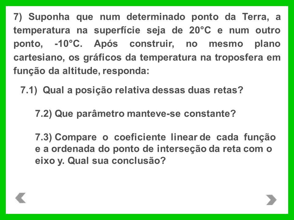 7) Suponha que num determinado ponto da Terra, a temperatura na superfície seja de 20°C e num outro ponto, -10°C. Após construir, no mesmo plano carte