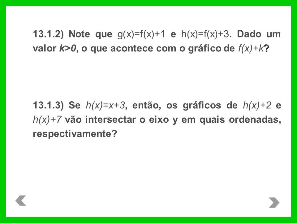 ? 13.1.2) Note que g(x)=f(x)+1 e h(x)=f(x)+3. Dado um valor k>0, o que acontece com o gráfico de f(x)+k? 13.1.3) Se h(x)=x+3, então, os gráficos de h(