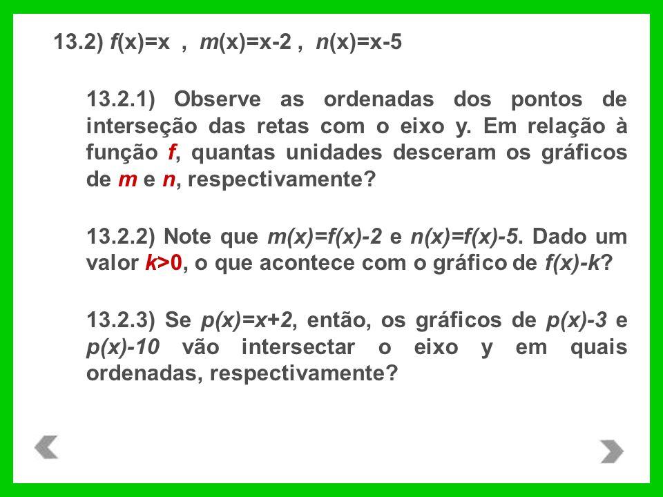 13.2) f(x)=x, m(x)=x-2, n(x)=x-5 13.2.1) Observe as ordenadas dos pontos de interseção das retas com o eixo y. Em relação à função f, quantas unidades