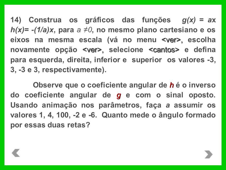 ,, 14) Construa os gráficos das funções g(x) = ax h(x)= -(1/a)x, para a 0, no mesmo plano cartesiano e os eixos na mesma escala (vá no menu, escolha novamente opção, selecione e defina para esquerda, direita, inferior e superior os valores -3, 3, -3 e 3, respectivamente).
