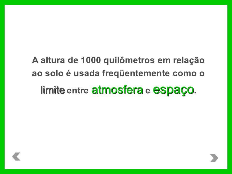 limite atmosfera espaço A altura de 1000 quilômetros em relação ao solo é usada freqüentemente como o limite entre atmosfera e espaço.