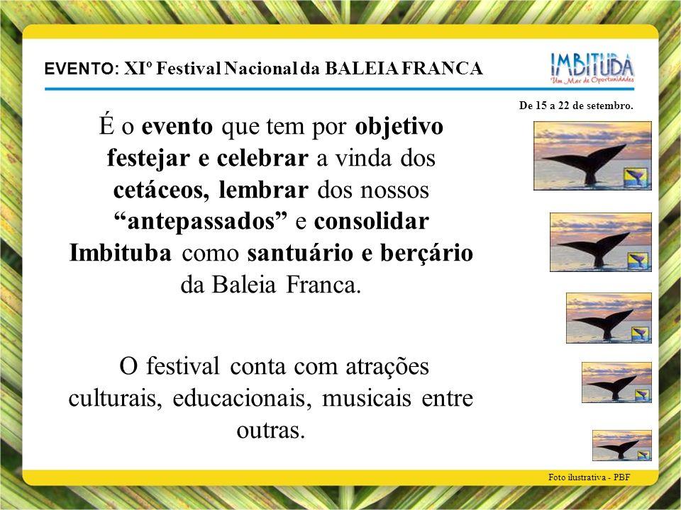 EVENTO: XIº Festival Nacional da BALEIA FRANCA De 15 a 22 de setembro. É o evento que tem por objetivo festejar e celebrar a vinda dos cetáceos, lembr