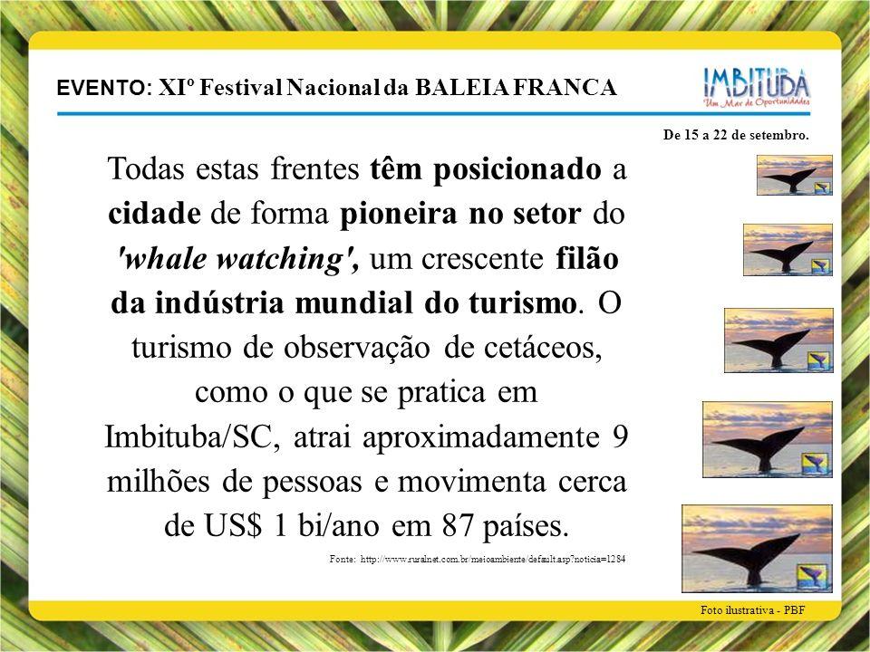 EVENTO: XIº Festival Nacional da BALEIA FRANCA De 15 a 22 de setembro. Todas estas frentes têm posicionado a cidade de forma pioneira no setor do 'wha