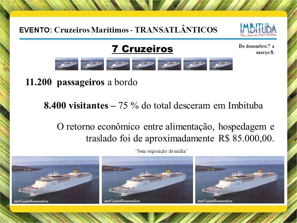 EVENTO: Cruzeiros Marítimos - TRANSATLÂNTICOS De dezembro/7 a março/8. 7 Cruzeiros 11.200 passageiros a bordo 8.400 visitantes – 75 % do total descera