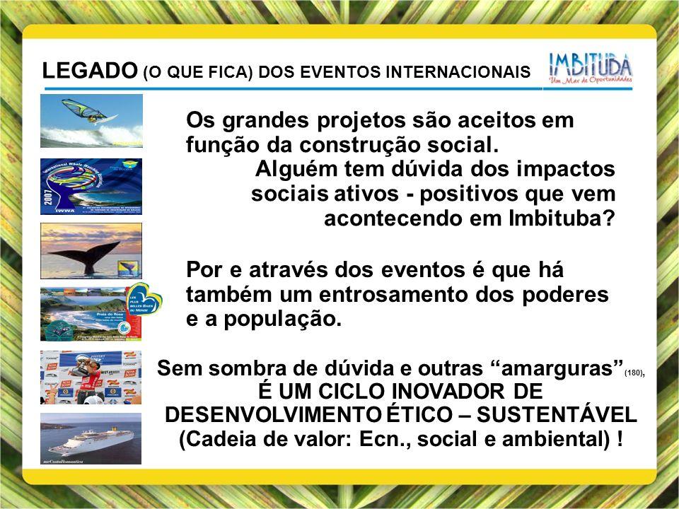 LEGADO (O QUE FICA) DOS EVENTOS INTERNACIONAIS Os grandes projetos são aceitos em função da construção social. Alguém tem dúvida dos impactos sociais