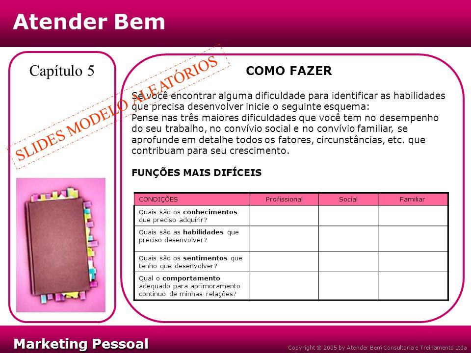 Marketing Pessoal Marketing Pessoal Atender Bem Copyright ® 2005 by Atender Bem Consultoria e Treinamento Ltda Capítulo 5 COMO FAZER Se você encontrar