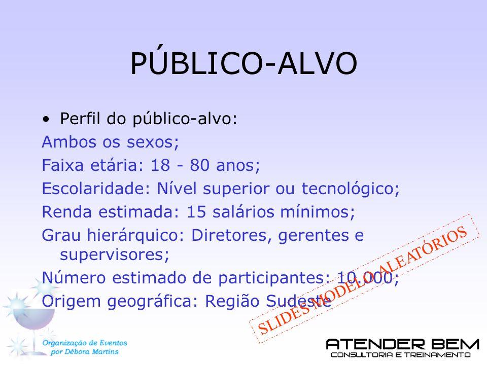 PÚBLICO-ALVO Perfil do público-alvo: Ambos os sexos; Faixa etária: 18 - 80 anos; Escolaridade: Nível superior ou tecnológico; Renda estimada: 15 salár