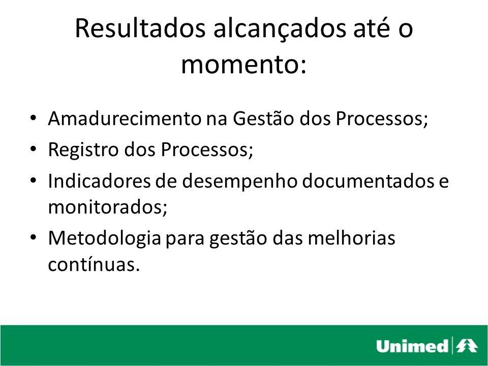 Amadurecimento na Gestão dos Processos; Registro dos Processos; Indicadores de desempenho documentados e monitorados; Metodologia para gestão das melh