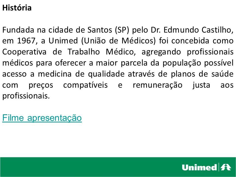 História Fundada na cidade de Santos (SP) pelo Dr. Edmundo Castilho, em 1967, a Unimed (União de Médicos) foi concebida como Cooperativa de Trabalho M