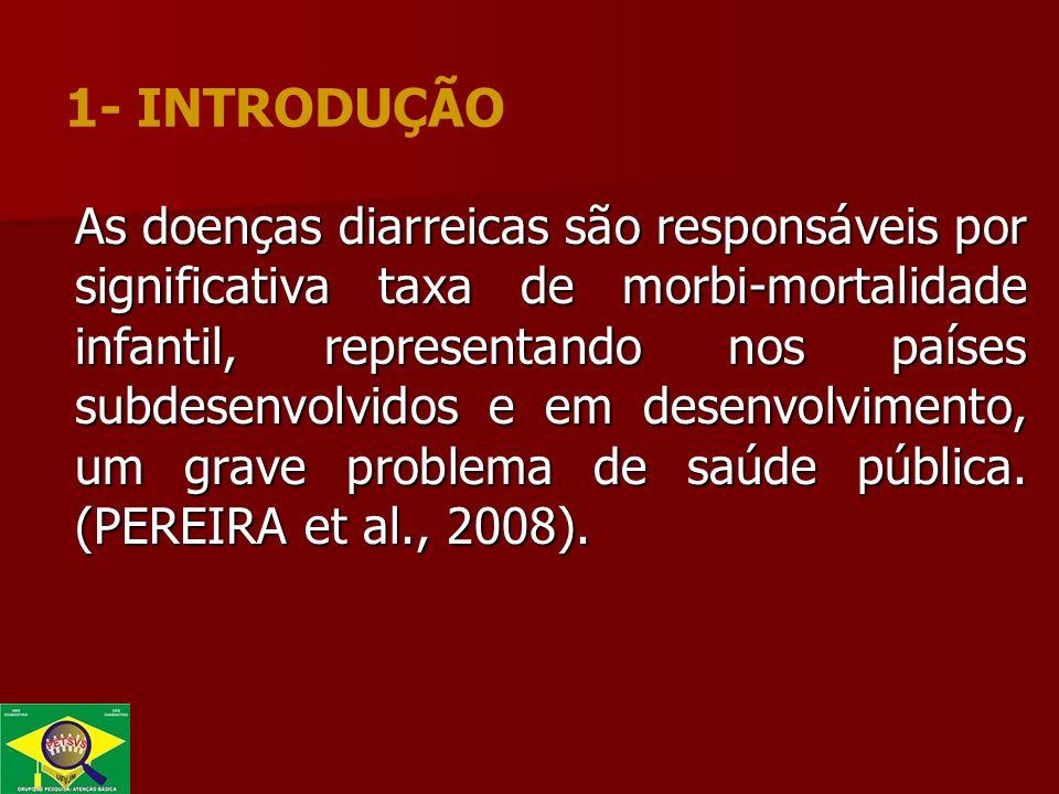 As doenças diarreicas são responsáveis por significativa taxa de morbi-mortalidade infantil, representando nos países subdesenvolvidos e em desenvolvimento, um grave problema de saúde pública.