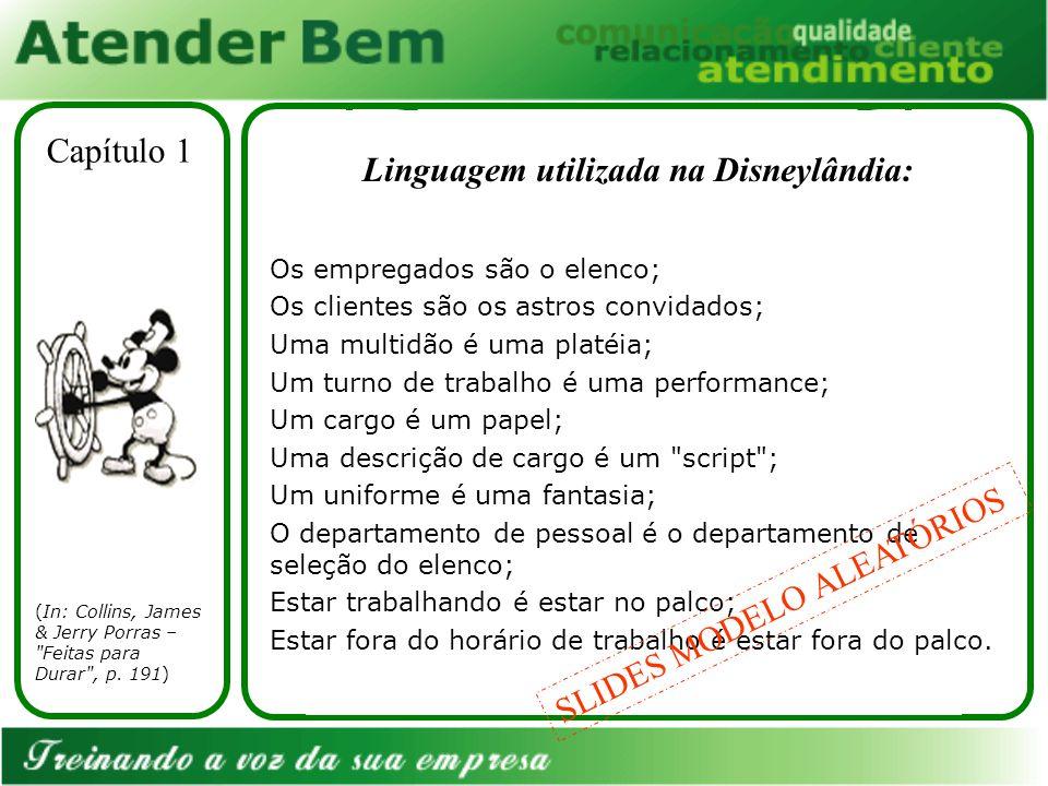 Linguagem utilizada na Disneylândia: (In: Collins, James & Jerry Porras – Feitas para Durar , p.