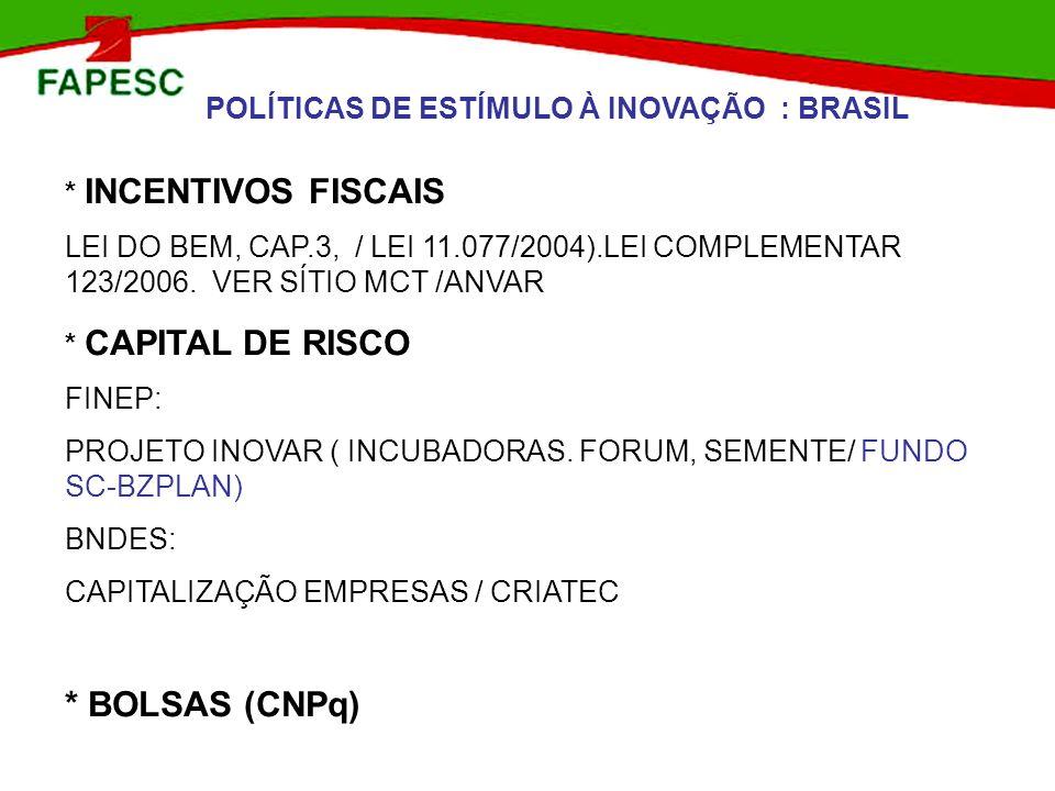 POLÍTICAS DE ESTÍMULO À INOVAÇÃO : BRASIL * INCENTIVOS FISCAIS LEI DO BEM, CAP.3, / LEI 11.077/2004).LEI COMPLEMENTAR 123/2006. VER SÍTIO MCT /ANVAR *
