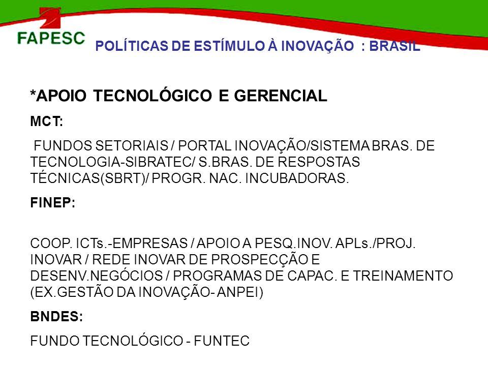 POLÍTICAS DE ESTÍMULO À INOVAÇÃO : BRASIL *APOIO TECNOLÓGICO E GERENCIAL MCT: FUNDOS SETORIAIS / PORTAL INOVAÇÃO/SISTEMA BRAS. DE TECNOLOGIA-SIBRATEC/