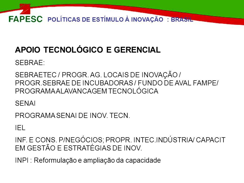 POLÍTICAS DE ESTÍMULO À INOVAÇÃO : BRASIL APOIO TECNOLÓGICO E GERENCIAL SEBRAE: SEBRAETEC / PROGR. AG. LOCAIS DE INOVAÇÃO / PROGR.SEBRAE DE INCUBADORA