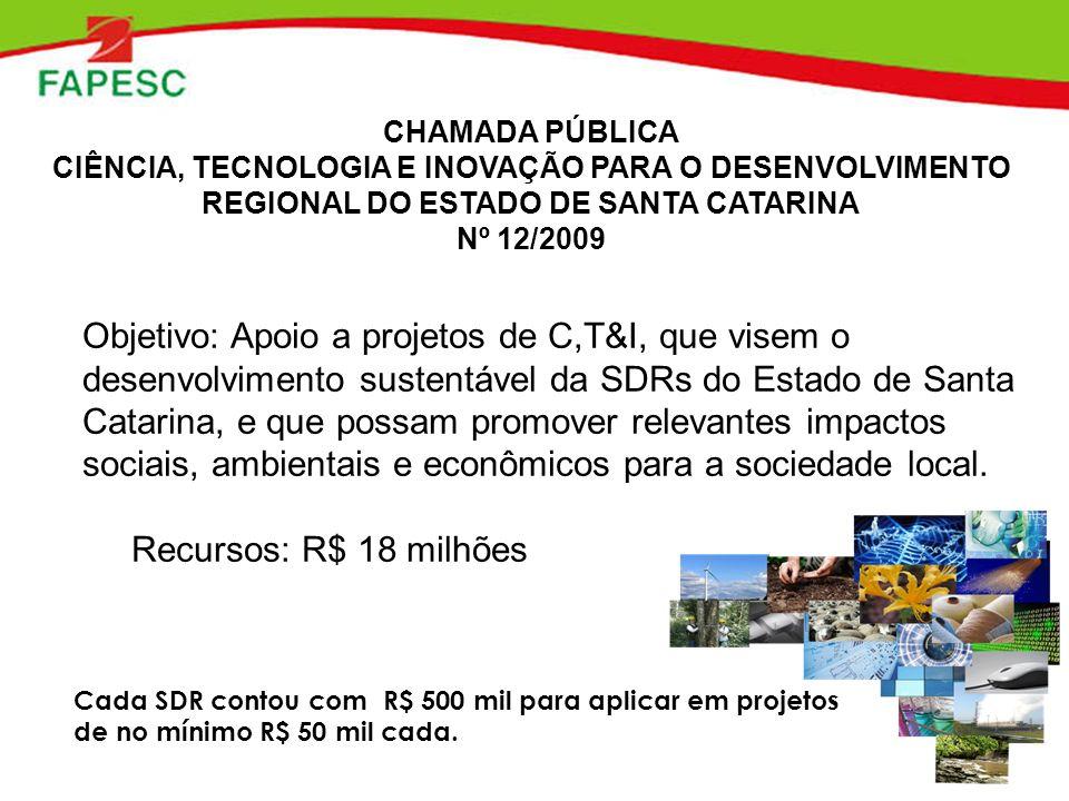 Objetivo: Apoio a projetos de C,T&I, que visem o desenvolvimento sustentável da SDRs do Estado de Santa Catarina, e que possam promover relevantes imp