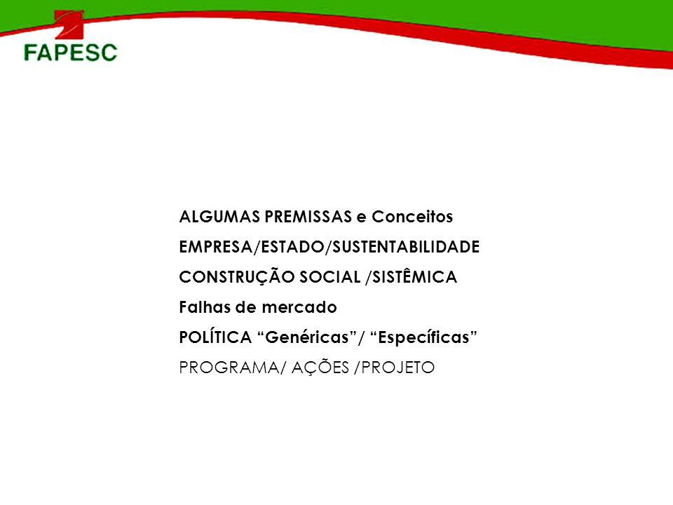 ALGUMAS PREMISSAS e Conceitos EMPRESA/ESTADO/SUSTENTABILIDADE CONSTRUÇÃO SOCIAL /SISTÊMICA Falhas de mercado POLÍTICA Genéricas/ Específicas PROGRAMA/