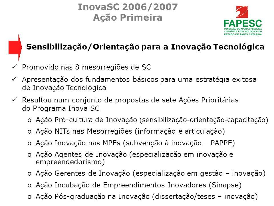 Promovido nas 8 mesorregiões de SC Apresentação dos fundamentos básicos para uma estratégia exitosa de Inovação Tecnológica Resultou num conjunto de p
