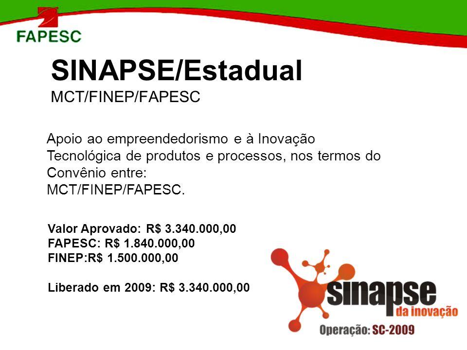 SINAPSE/Estadual MCT/FINEP/FAPESC Apoio ao empreendedorismo e à Inovação Tecnológica de produtos e processos, nos termos do Convênio entre: MCT/FINEP/