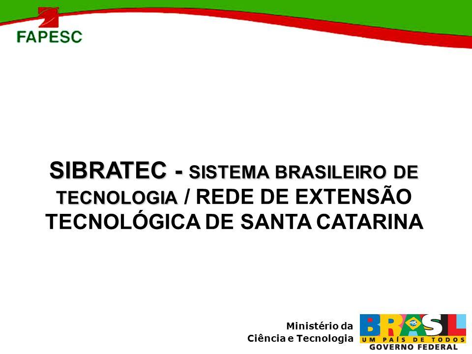 Ministério da Ciência e Tecnologia SIBRATEC - SISTEMA BRASILEIRO DE TECNOLOGIA SIBRATEC - SISTEMA BRASILEIRO DE TECNOLOGIA / REDE DE EXTENSÃO TECNOLÓG