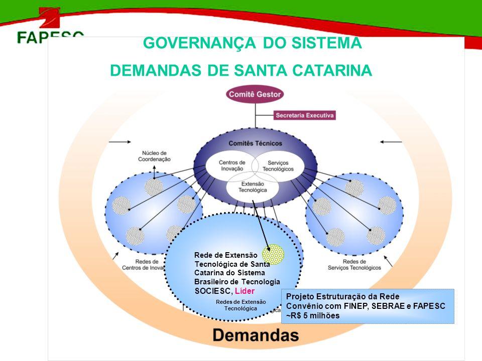 GOVERNANÇA DO SISTEMA DEMANDAS DE SANTA CATARINA Redes de Extensão Tecnológica Rede de Extensão Tecnológica de Santa Catarina do Sistema Brasileiro de
