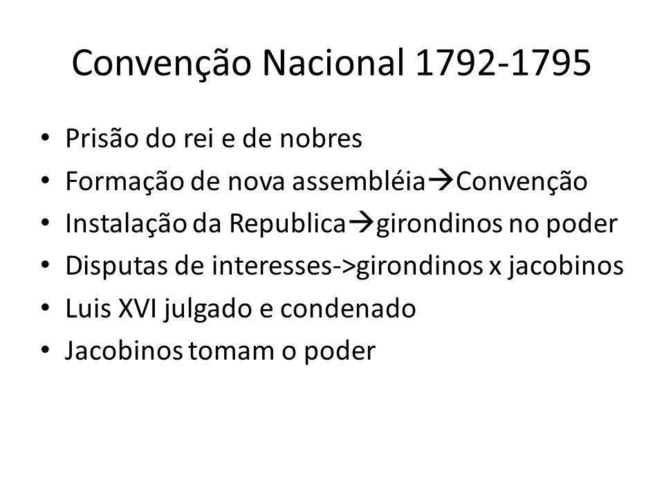 Convenção Nacional 1792-1795 Prisão do rei e de nobres Formação de nova assembléia Convenção Instalação da Republica girondinos no poder Disputas de i