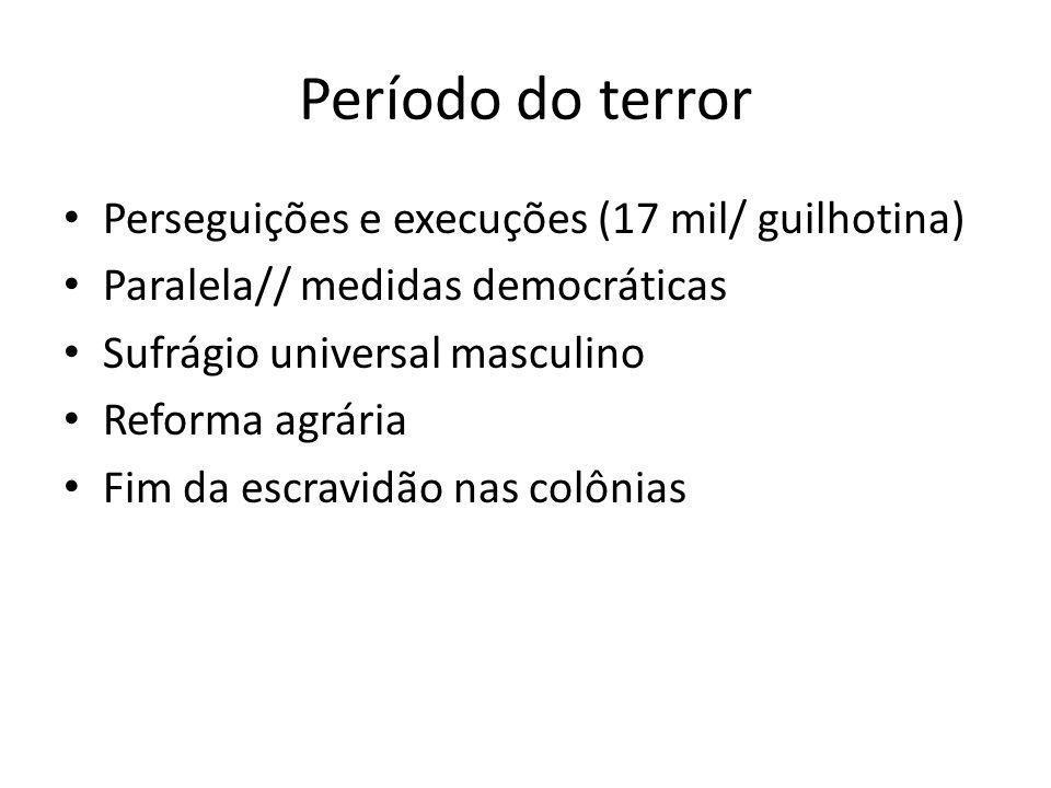 Período do terror Perseguições e execuções (17 mil/ guilhotina) Paralela// medidas democráticas Sufrágio universal masculino Reforma agrária Fim da es