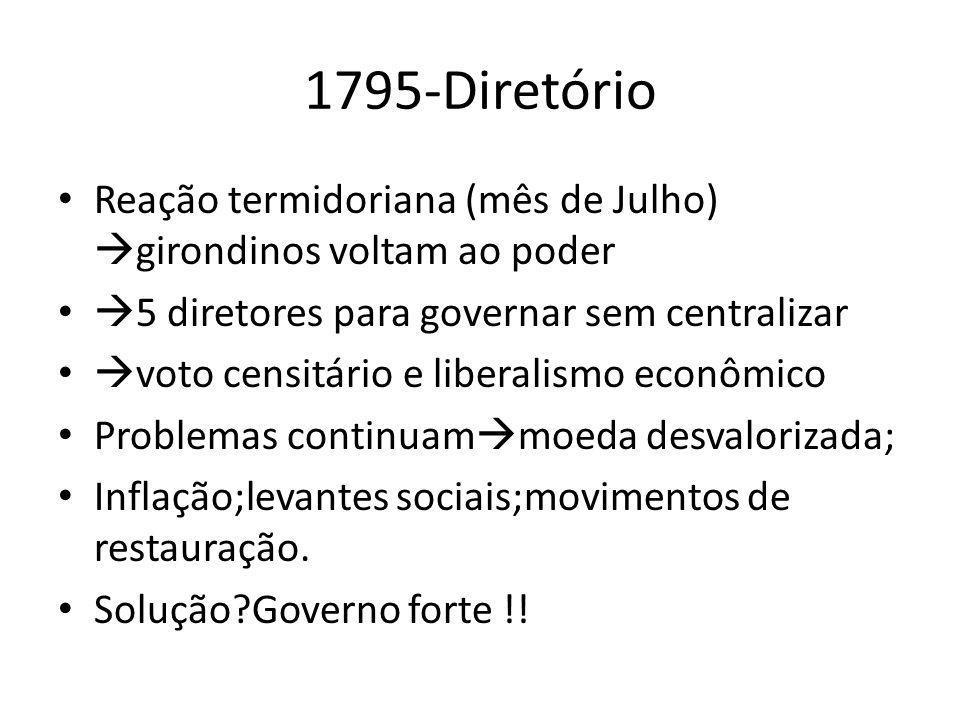 1795-Diretório Reação termidoriana (mês de Julho) girondinos voltam ao poder 5 diretores para governar sem centralizar voto censitário e liberalismo e
