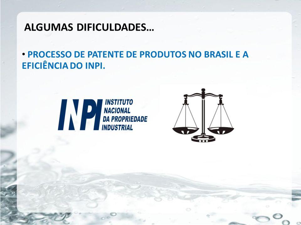 26/05/11 ALGUMAS DIFICULDADES… PROCESSO DE PATENTE DE PRODUTOS NO BRASIL E A EFICIÊNCIA DO INPI.