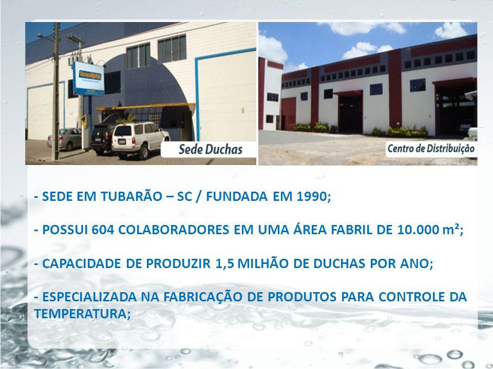 26/05/11 - SEDE EM TUBARÃO – SC / FUNDADA EM 1990; - POSSUI 604 COLABORADORES EM UMA ÁREA FABRIL DE 10.000 m²; - CAPACIDADE DE PRODUZIR 1,5 MILHÃO DE