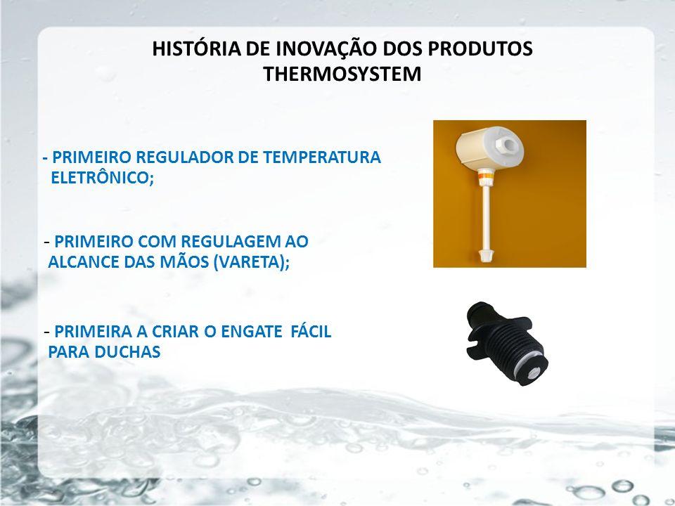HISTÓRIA DE INOVAÇÃO DOS PRODUTOS THERMOSYSTEM - PRIMEIRO REGULADOR DE TEMPERATURA ELETRÔNICO; - PRIMEIRO COM REGULAGEM AO ALCANCE DAS MÃOS (VARETA);