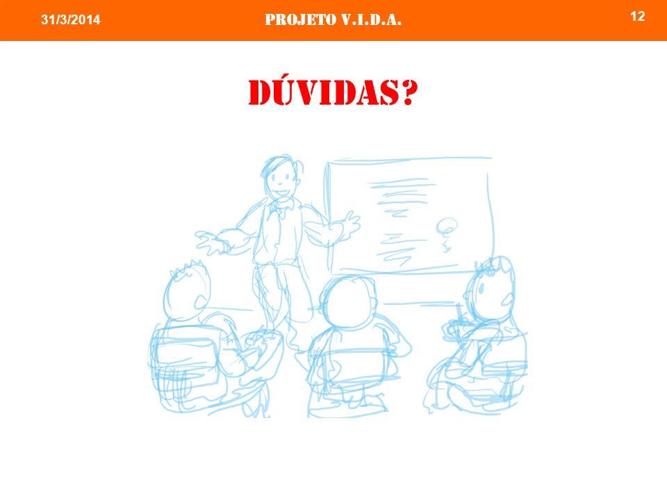 Projeto v.i.d.a. 12 31/3/2014 Dúvidas?