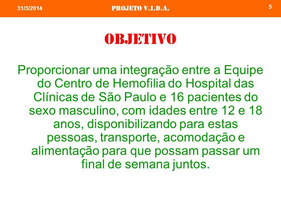 Projeto v.i.d.a. 5 31/3/2014 objetivo Proporcionar uma integração entre a Equipe do Centro de Hemofilia do Hospital das Clínicas de São Paulo e 16 pac