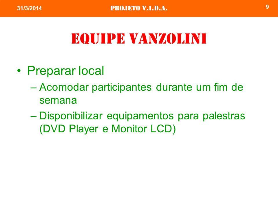 Projeto v.i.d.a. 9 31/3/2014 Equipe vanzolini Preparar local –Acomodar participantes durante um fim de semana –Disponibilizar equipamentos para palest