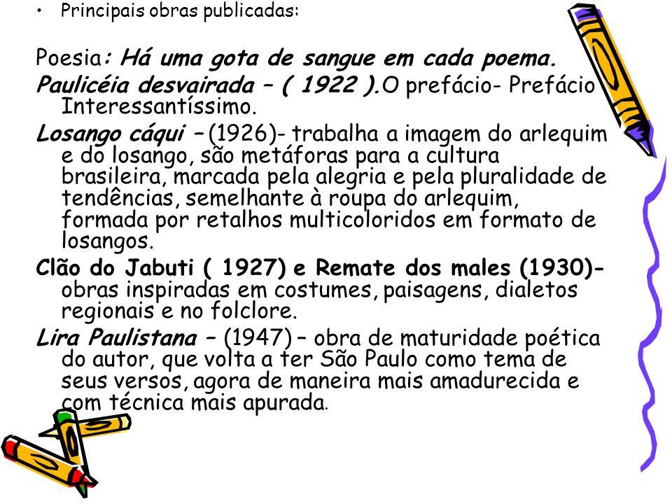 Principais obras publicadas: Poesia: Há uma gota de sangue em cada poema. Paulicéia desvairada – ( 1922 ).O prefácio- Prefácio Interessantíssimo. Losa