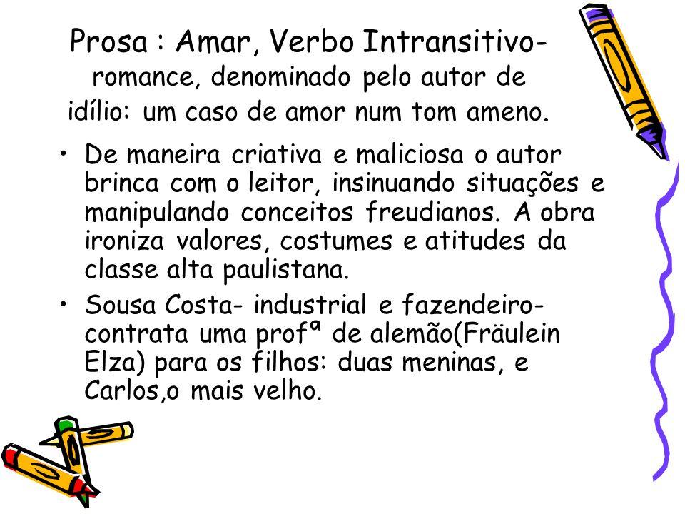 Prosa : Amar, Verbo Intransitivo- romance, denominado pelo autor de idílio: um caso de amor num tom ameno. De maneira criativa e maliciosa o autor bri
