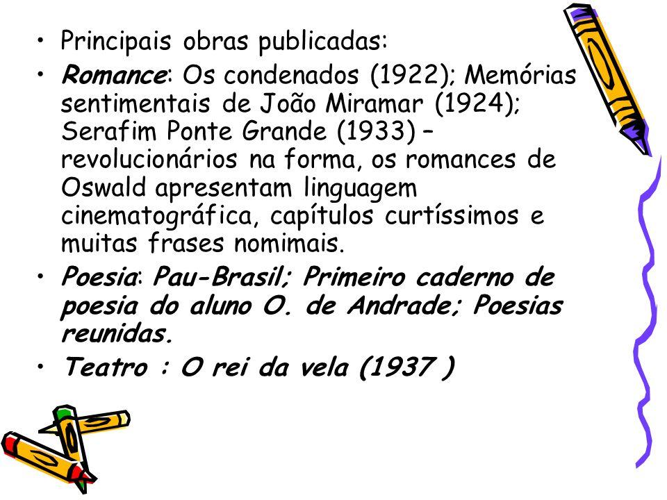 Principais obras publicadas: Romance: Os condenados (1922); Memórias sentimentais de João Miramar (1924); Serafim Ponte Grande (1933) – revolucionário
