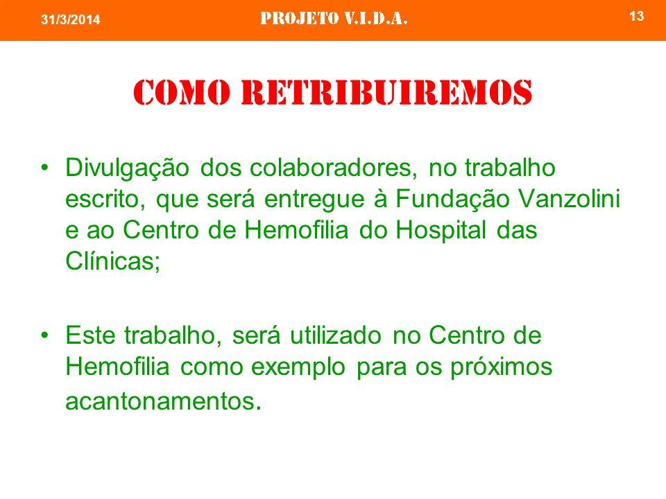 Como retribuiremos Divulgação dos colaboradores, no trabalho escrito, que será entregue à Fundação Vanzolini e ao Centro de Hemofilia do Hospital das Clínicas; Este trabalho, será utilizado no Centro de Hemofilia como exemplo para os próximos acantonamentos.
