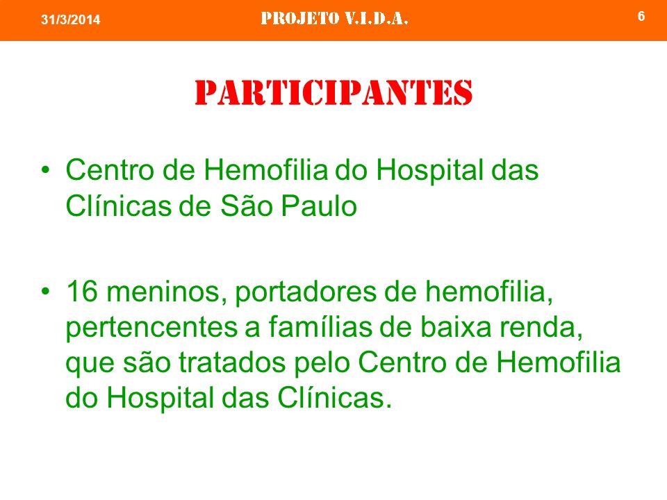 6 31/3/2014 Participantes Centro de Hemofilia do Hospital das Clínicas de São Paulo 16 meninos, portadores de hemofilia, pertencentes a famílias de baixa renda, que são tratados pelo Centro de Hemofilia do Hospital das Clínicas.