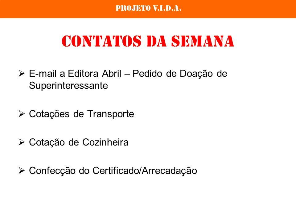 Contatos da semana E-mail a Editora Abril – Pedido de Doação de Superinteressante Cotações de Transporte Cotação de Cozinheira Confecção do Certificad