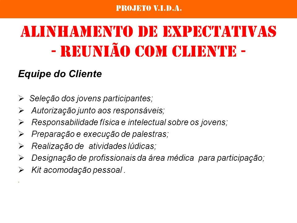Alinhamento de expectativas - reunião com cliente - Equipe do Cliente Seleção dos jovens participantes; Autorização junto aos responsáveis; Responsabi