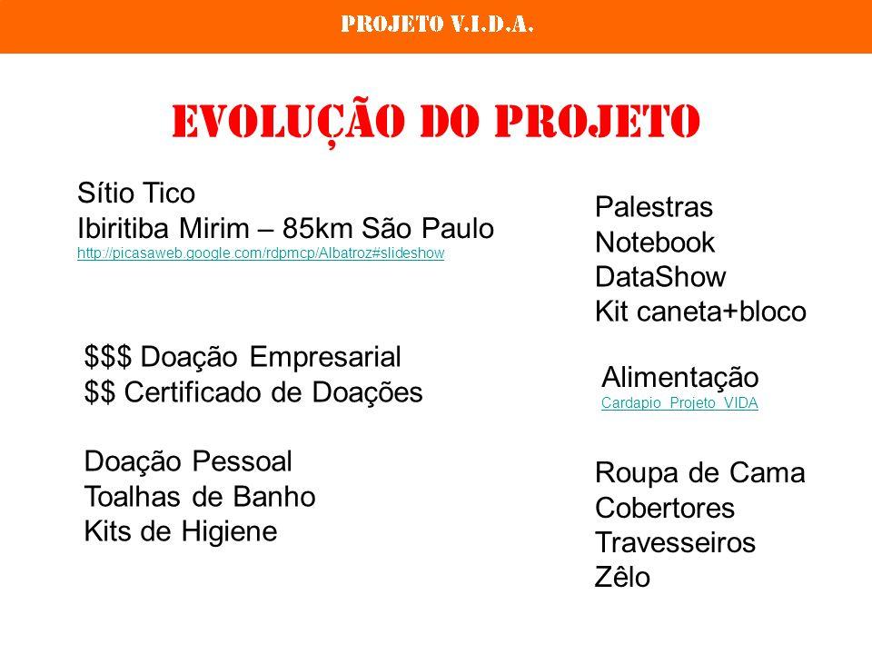 Evolução do projeto Sítio Tico Ibiritiba Mirim – 85km São Paulo http://picasaweb.google.com/rdpmcp/Albatroz#slideshow Palestras Notebook DataShow Kit