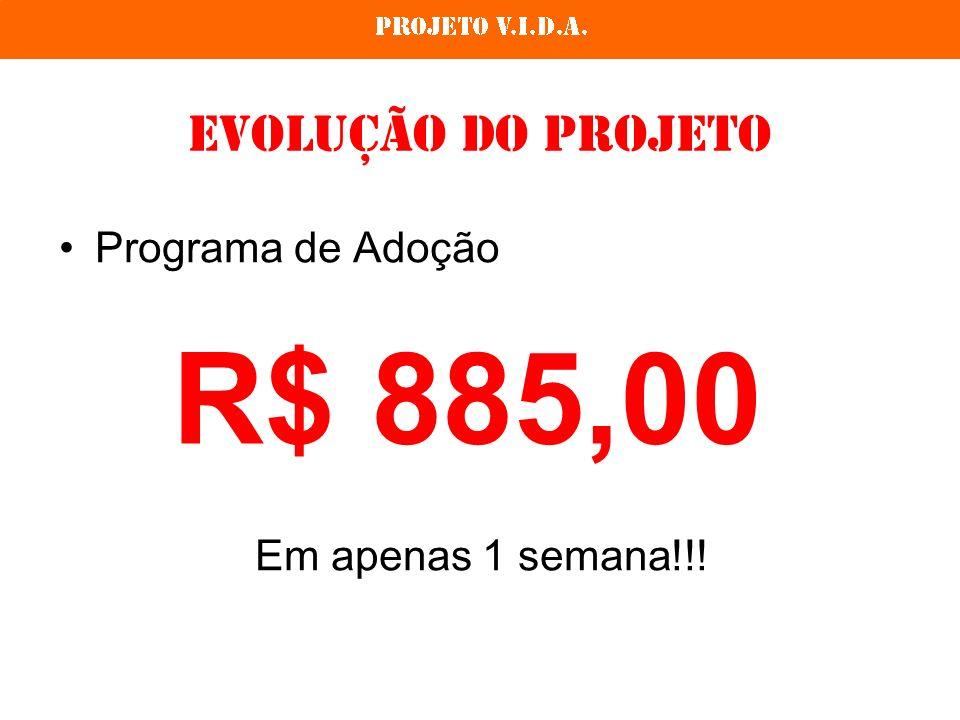 Evolução do Projeto Programa de Adoção Em apenas 1 semana!!! R$ 885,00
