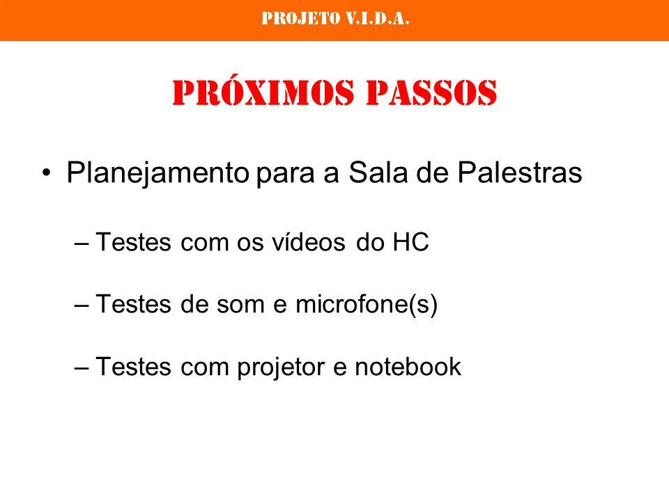 Próximos Passos Planejamento para a Sala de Palestras –Testes com os vídeos do HC –Testes de som e microfone(s) –Testes com projetor e notebook