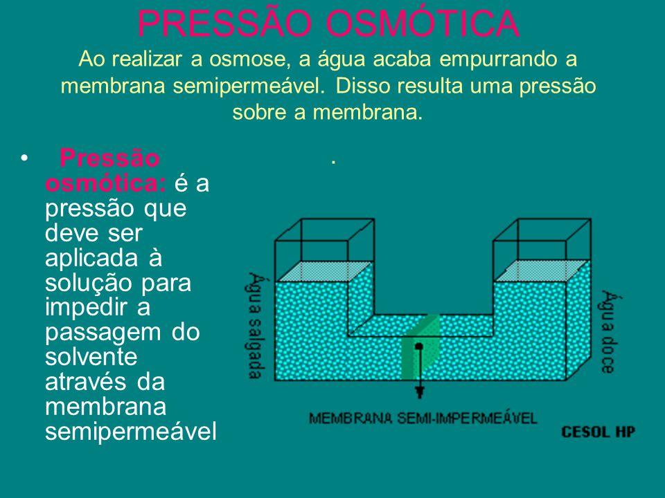 PRESSÃO OSMÓTICA Ao realizar a osmose, a água acaba empurrando a membrana semipermeável. Disso resulta uma pressão sobre a membrana.. Pressão osmótica