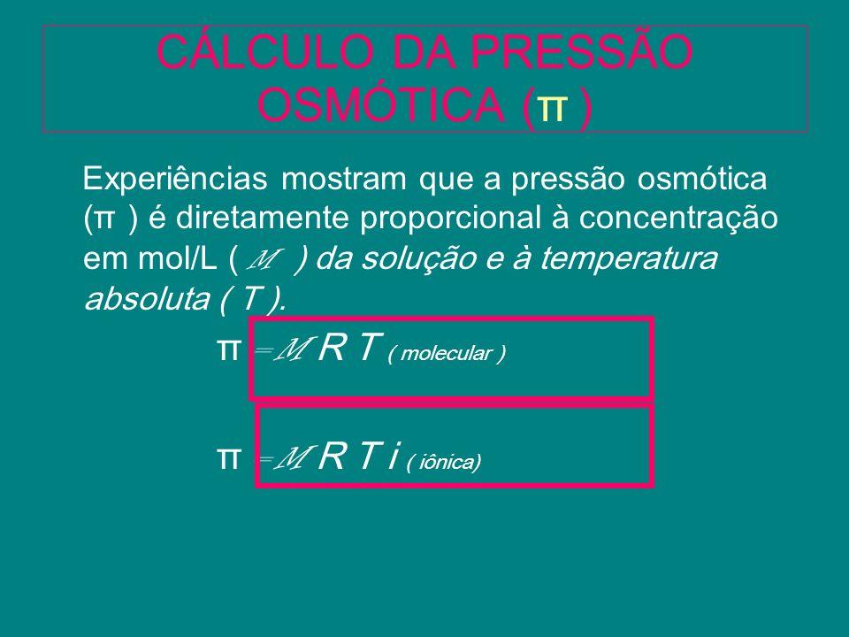 CÁLCULO DA PRESSÃO OSMÓTICA ( π ) Experiências mostram que a pressão osmótica ( π ) é diretamente proporcional à concentração em mol/L ( M ) da soluçã