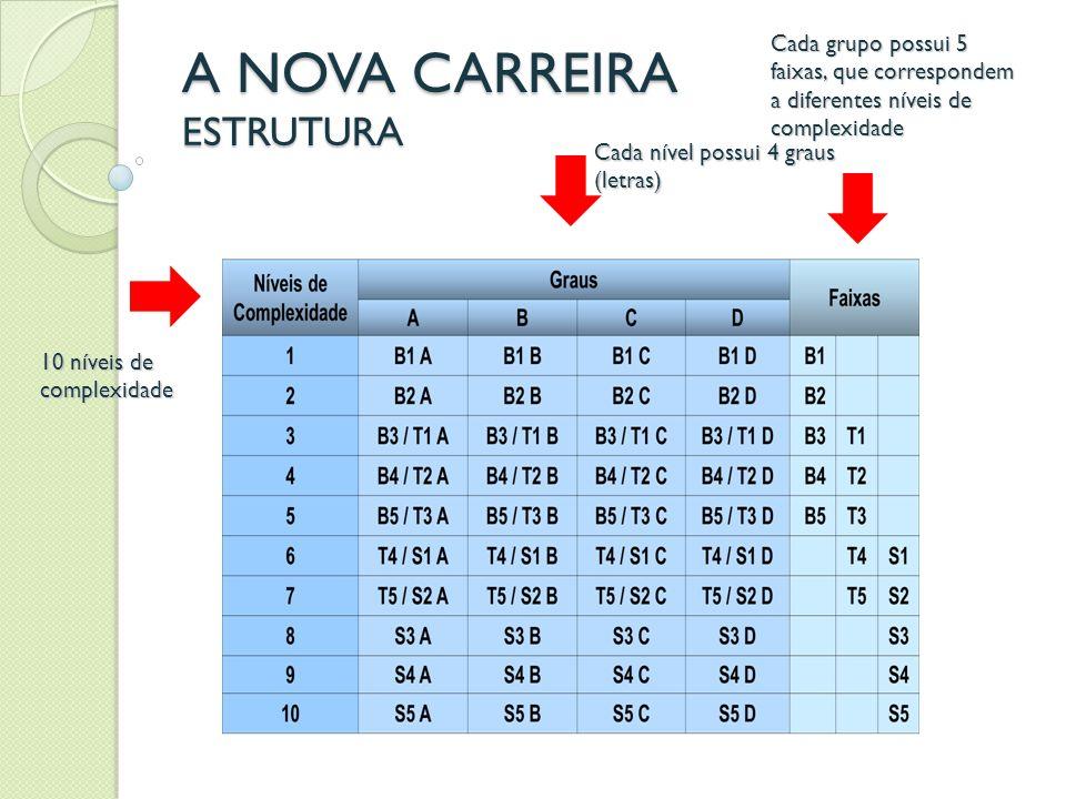 A NOVA CARREIRA PROGRESSÃO NA CARREIRA Progressão funcional é a movimentação do servidor na estrutura da carreira, após avaliação feita a partir de critérios específicos.