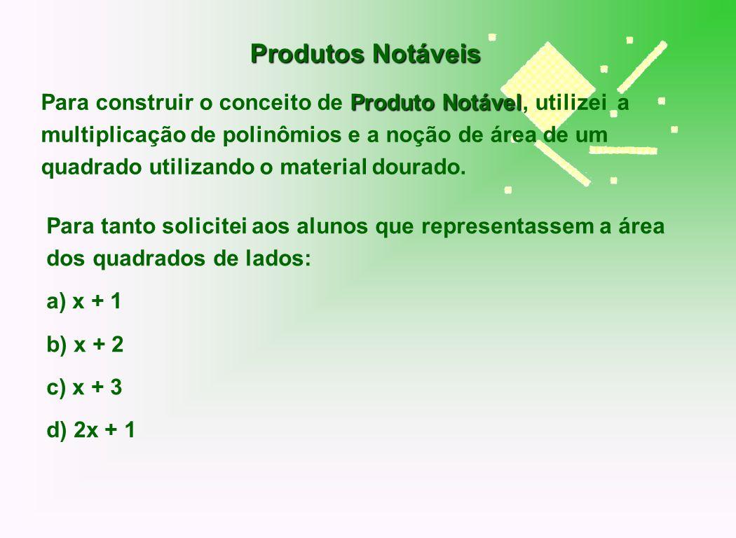 Para tanto solicitei aos alunos que representassem a área dos quadrados de lados: a) x + 1 b) x + 2 c) x + 3 d) 2x + 1 Produtos Notáveis Produto Notáv