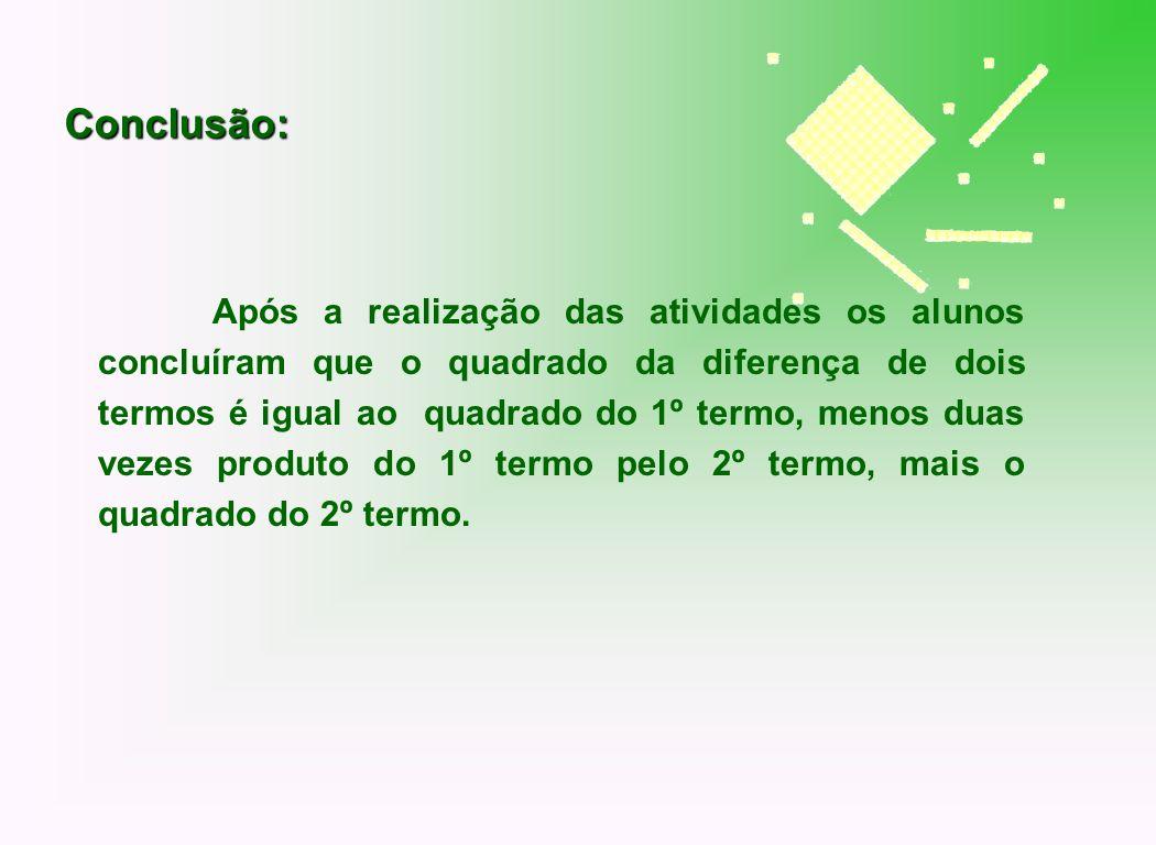 Após a realização das atividades os alunos concluíram que o quadrado da diferença de dois termos é igual ao quadrado do 1º termo, menos duas vezes pro