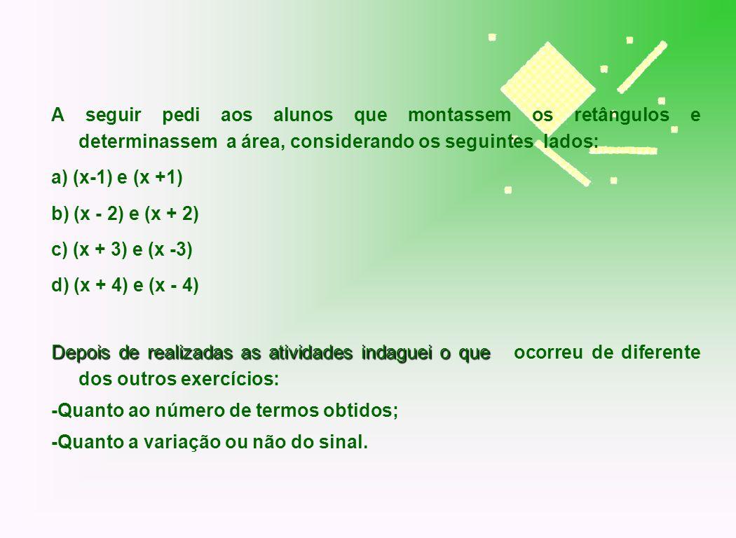 A seguir pedi aos alunos que montassem os retângulos e determinassem a área, considerando os seguintes lados: a) (x-1) e (x +1) b) (x - 2) e (x + 2) c