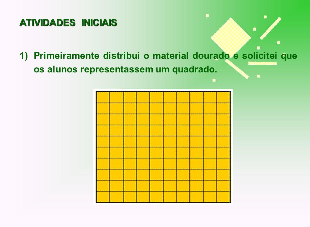 2) Solicitei que os alunos representassem com o material dourado a seguinte expressão: (2 + 1) 2 Nesta representação os alunos detalharam a composição das áreas que podem ser obtidas deste produto notável.